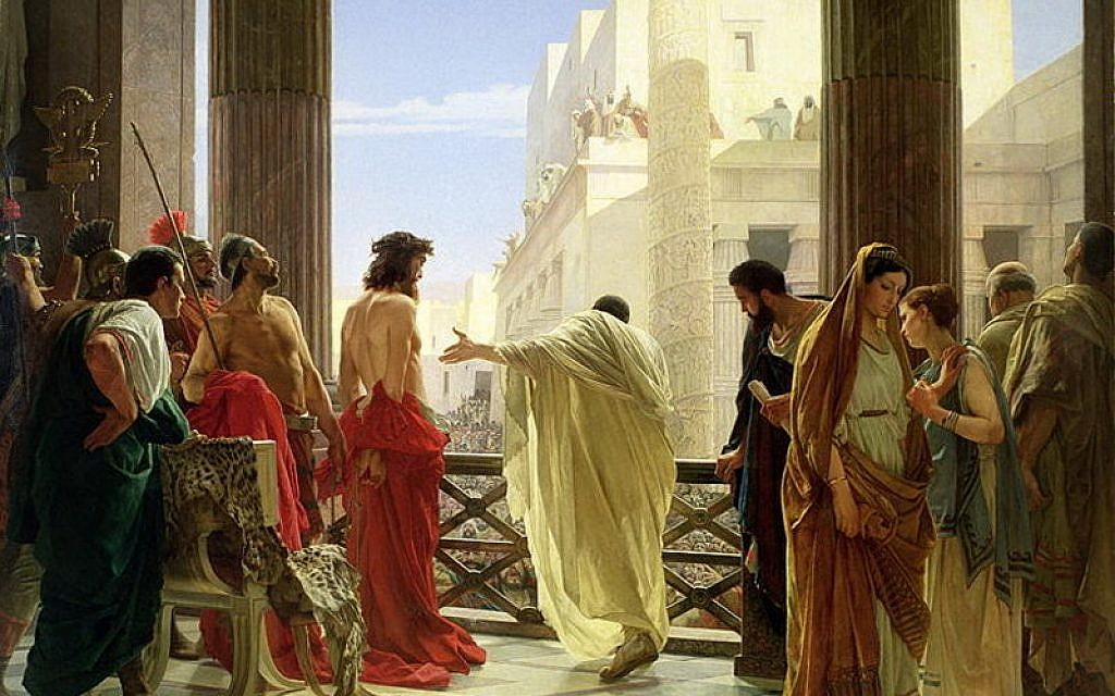 Pilate presents Jesus, as depicted in Ecce Home (Behold the man) by Antonio Ciseri, 1871 (public domain, via wikipedia)