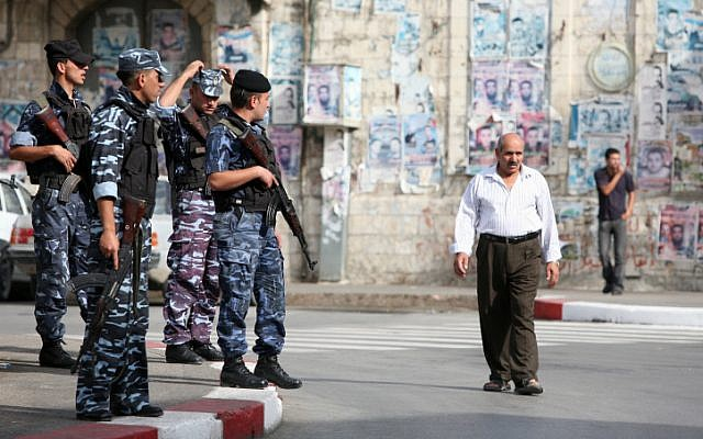 Illustrative image of armed Palestinian police officers in the West Bank city of Nablus. (Maya Levin / Flash90)