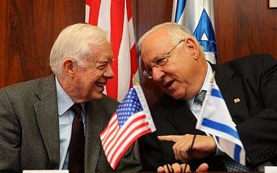 Former US president Jimmy Carter meets then-Knesset speaker Reuven Rivlin at the Knesset, June 15, 2009. (Photo credit: Kobi Gideon / FLASH90)