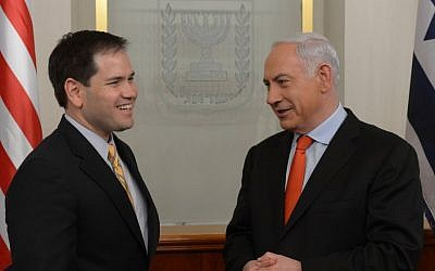 Prime Minister Benyamin Netanyahu (R) meets with US Sen. Marco Antonio Rubio (R-FL) in Jerusalem February 20, 2013. (photo credit: Amos Ben Gershom/GPO/FLASH90)