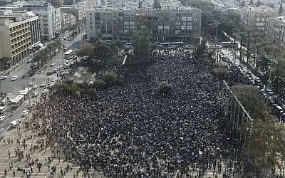 Illustrative photo of a demonstration at Rabin Square, central Tel Aviv. (Tomer Neuberg/Flash90)