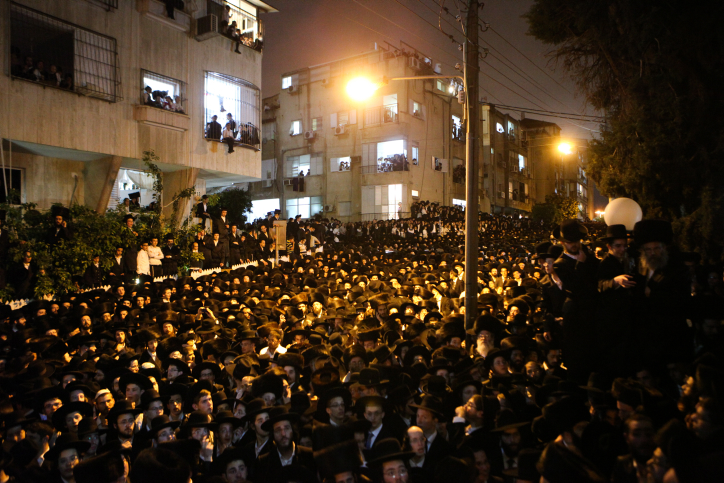 Thousands attend the funeral of Rabbi Shmuel Wosner on April 4, 2015 in Bnei Brak. (photo credit: Flash90)