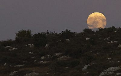 A full moon over the city of Modiin, Israel, August 10, 2014. (Photo credit: Dror Garti/Flash90)