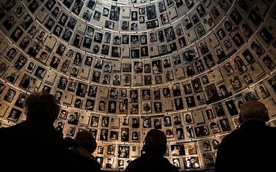 Visitors seen at the Yad Vashem Holocaust Memorial museum in Jerusalem on January 27, 2015 (Hadas Parush/Flash90)