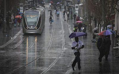 Illustrative photo of rain in Jerusalem, (Photo credit: Hadas Parush/Flash90)