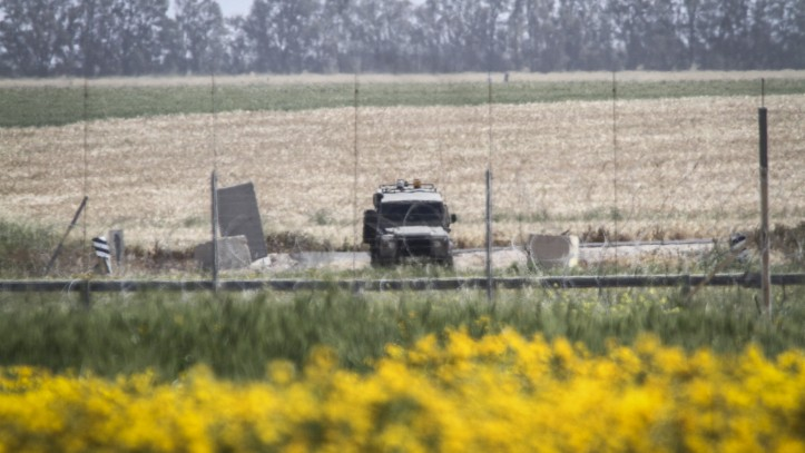 Illustrative An Israeli military vehicle on standby near the border between Israel and the Gaza Strip