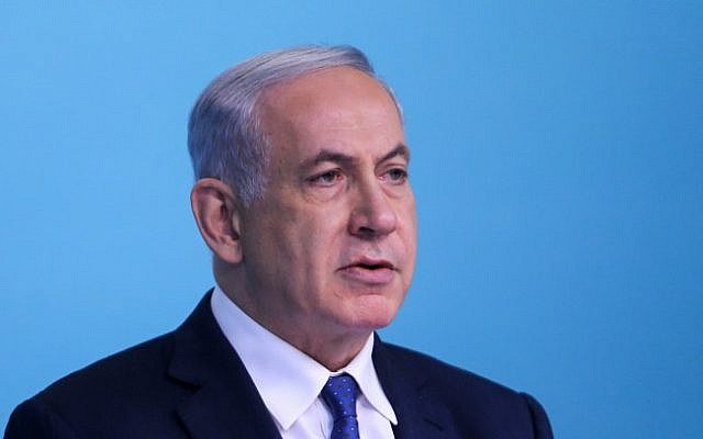 Prime Minister Benjamin Netanyahu gives a statement to the media regarding the Iran nuclear talks in Lausanne, Switzerland, at the Prime Minister's office in Jerusalem on April 1, 2015. (photo credit: Alex Kolomoisky/POOL)