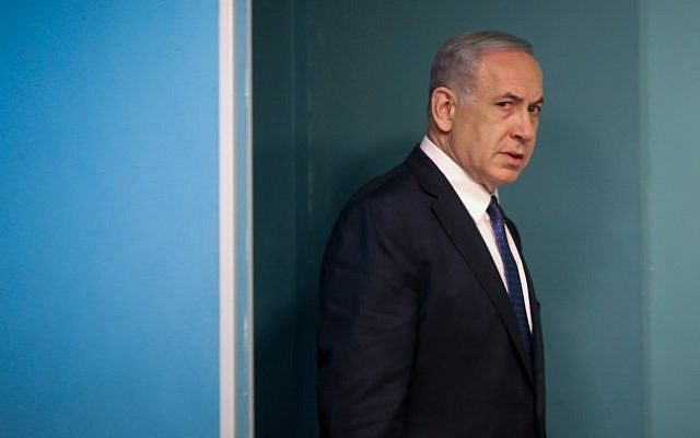 Prime Minister Benjamin Netanyahu arriving at the weekly cabinet meeting, April 19, 2015. (photo credit: Flash90/Olivier Fitoussi, Pool)