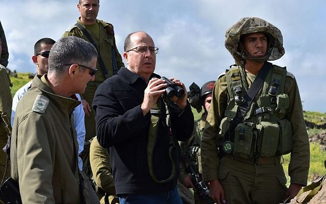 Defense Minister Moshe Ya'alon seen during an army exercise of the IDF Kfir Brigade on the Golan Heights in northern Israel, April 2, 2015. (Ariel Hermoni/Ministry of Defense)