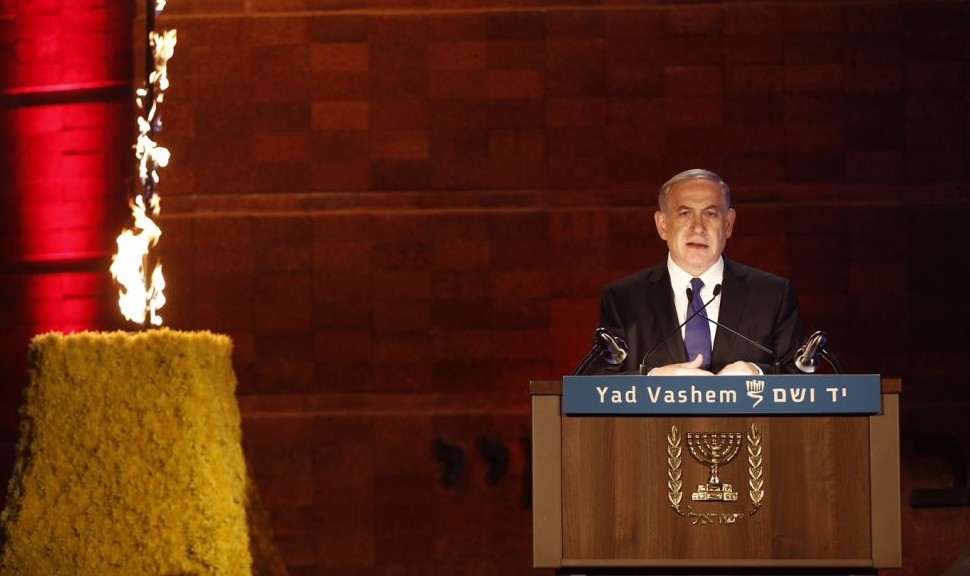Prime Minister Benjamin Netanyahu speaks at a ceremony at the Yad Vashem Holocaust Memorial Museum in Jerusalem, as Israel marks the annual Holocaust Remembrance Day on April 15, 2015. (photo credit: Yonatan Sindel/Flash90)