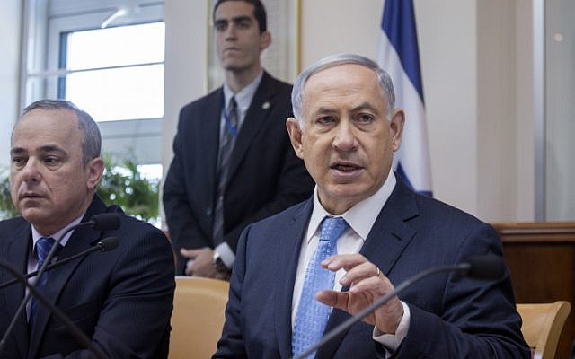 Prime Minister Benjamin Netanyahu seen at the weekly cabinet meeting in Jerusalem on April 19, 2015. (photo credit: Olivier Fitoussi/POOL)