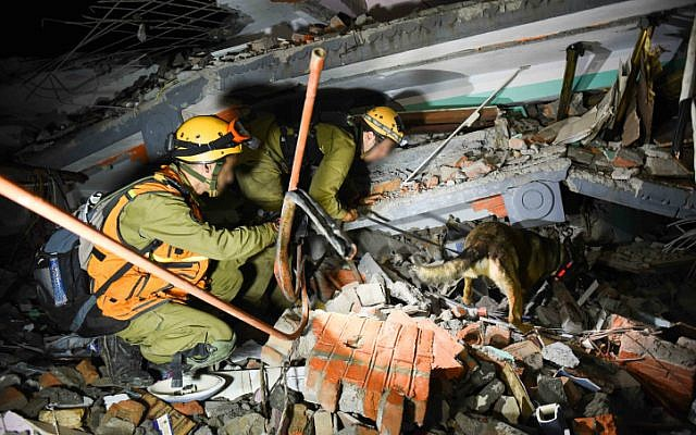 Israeli soldiers during rescue attempts of injured and trapped people from the ruins of buildings in Nepal, following the deadly earthquake.on April 28, 2015. (photo credit: IDF Spokesperson)
