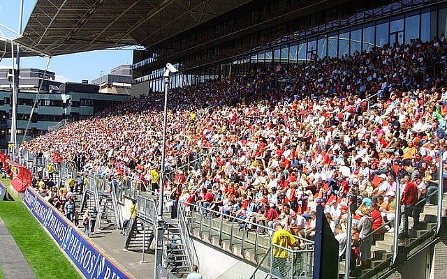 Illustrative photo of FC Utrecht fans (photo credit: Wikimedia Commons/Geüpload door Luctor/CC BY-SA 3.0)