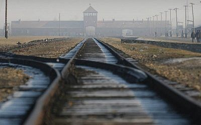 Rails in the former Nazi death camp Auschwitz-Birkenau in Oswiecim, southern Poland, 2005. (AP/Czarek Sokolowski, File)
