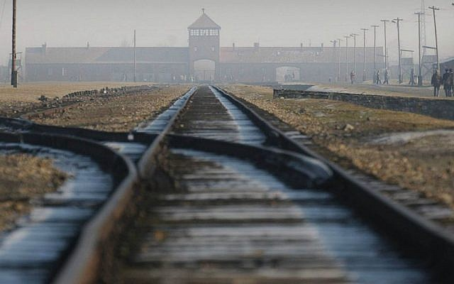 A January 17, 2005 file photo of rails in the former Nazi death camp Auschwitz-Birkenau in Oswiecim, southern Poland. (AP Photo/Czarek Sokolowski, file)