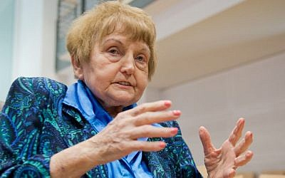 Auschwitz survivor Eva Kor sits in a court room in Lueneburg, northern Germany, Tuesday, April 21, 2015. (Photo credit: Julian Stratenschulte/Pool Photo via AP)