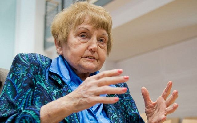 Auschwitz survicor Eva Kor sits in a court room in Lueneburg, northern Germany, Tuesday, April 21, 2015. The 93-year-old former Auschwitz guard Oskar Groening is on trial on 300,000 counts of accessory to murder. (photo credit: Julian Stratenschulte/Pool Photo via AP)