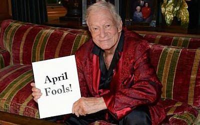 Hugh Hefner's April Fools (photo credit: Twitter, via JTA)