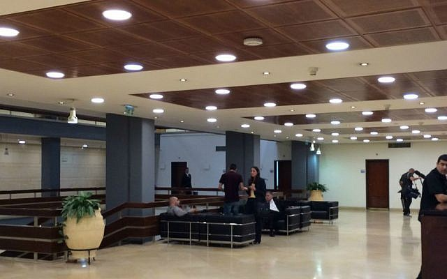LED lighting has been installed throughout the Knesset. (photo credit: Renee Ghert-Zand/Times of Israel staff)
