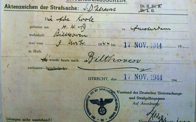 Prison release document for Ada Koole (Betty Bausch's assumed name) dated November 17, 1944. (Courtesy)