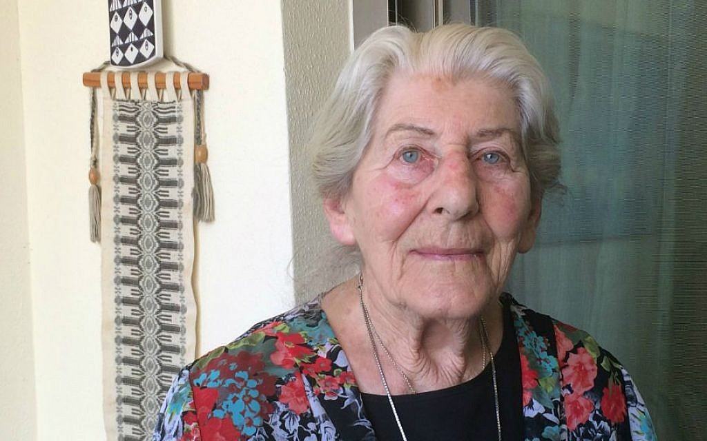 Betty Bausch at her home in Kfar Sava, Israel. April 6, 2015. (photo credit: Renee Ghert-Zand/Times of Israel staff)