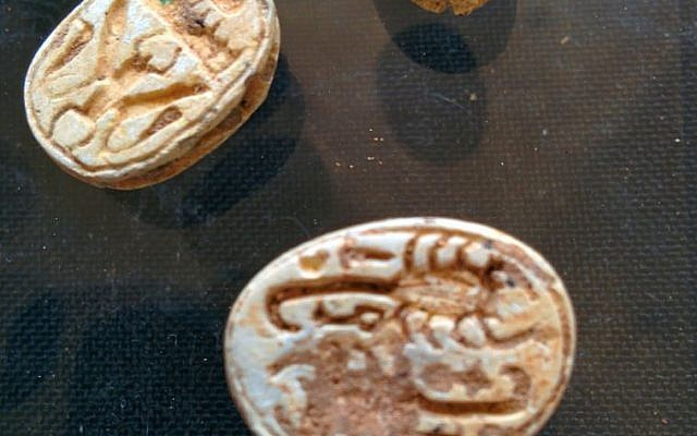 File: Faience scarabs found by IAA archaeologists in a cave near Tel Halif, in southern Israel (photo credit: Ilan Ben Zion/Times of Israel staff)