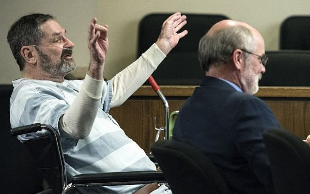 Frazier Glenn Miller, who attacked the  Jewish Community Center in Overland Park, Kansas and Village Shalom, a Jewish retirement community, appears in court on March 27, 2015. (John Sleezer/The Kansas City Star via AP)