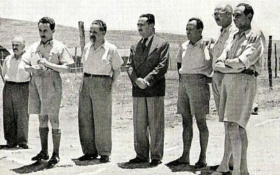 Zionist leaders arrested in Operation Agatha, a series of British raids, including one on the Jewish Agency in which incriminating documentation was found. From left to right: David Remez, Moshe Sharett, Yitzhak Gruenbaum, Dov Yosef, Shenkarsky, David Hacohen, Isser Harel. (public domain)