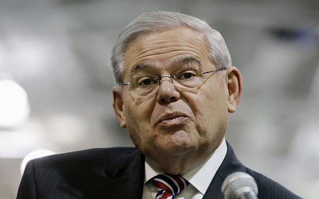 Sen. Robert Menendez, D-New Jersey, listens to a question while speaking in Garwood, New Jersey, March 23, 2015. (AP/Mel Evans, File)