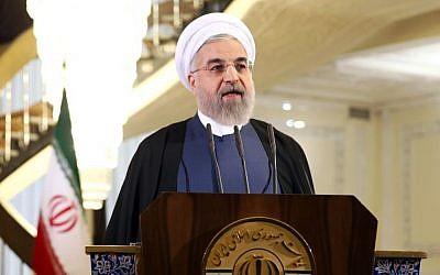 Iranian President Hassan Rouhani in Tehran, Iran, Friday April 3, 2015 (Photo credit: AP/Ebrahim Noroozi)