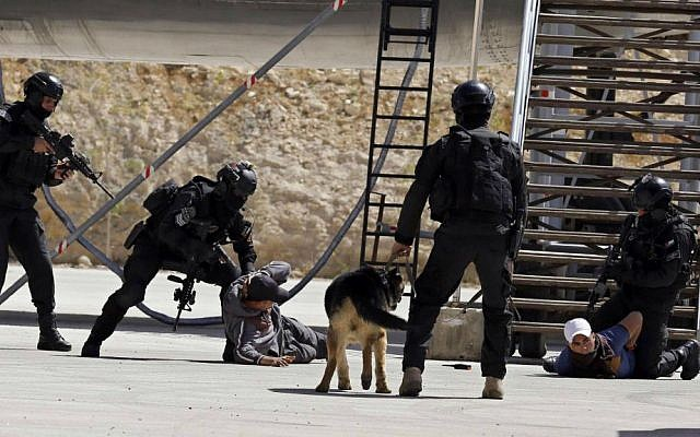Jordanian forces conduct a military drill as part of the 7th Annual International Warrior Competition hosted by the King Abdullah Special Operations Training Center (KASOTC), Sunday, April 19, 2015, Amman, Jordan. (AP Photo/Raad Adayleh)