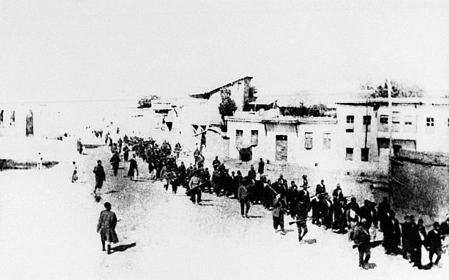 In this 1915 file photo, Armenians marched long distances and said to have been massacred in Turkey.  (photo credit: AP Photo, File)