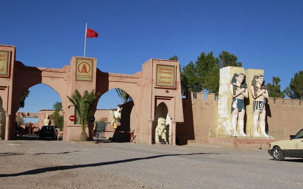 In this photo dated Jan. 31, 2015, the entrance to the Atlas Studio where several major American movies have been filmed in Ouarzazate, Morocco. It has been a banner year for filming in Morocco with more money spent by foreign film productions in the country in 2014 than in the past five years put together, as it rides on its reputation for stability and exotic locales. (photo credit: AP Photo/ Paul Schemm)
