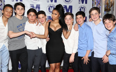 Nicki Minaj and young admirers at Matt Murstein's bar mitzvah (photo credit: Instagram via JTA)