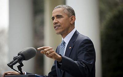 President Barack Obama speaks in the Rose Garden of the White House in Washington, Thursday, April 2, 2015. (photo credit: AP Photo/Pablo Martinez Monsivais)