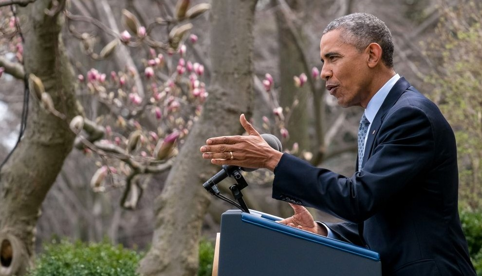 President Barack Obama speaks in the Rose Garden of the White House in Washington, DC, about the breakthrough in the Iranian nuclear talks, April 2, 2015. (photo credit: AP/J. David Ake)