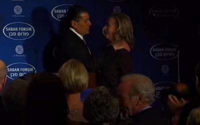 Haim Saban welcomes Hillary Clinton to a Saban Forum event in 2012 (YouTube screenshot)