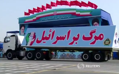 A truck bearing the slogan 'Death to Israel' at an Iranian military parade, April 18, 2015 (screen capture: Reuters/YouTube)