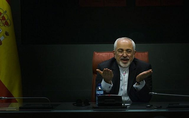 Iranian Foreign Minister Mohammad Javad Zarif speaks at a press conference in Madrid about the Yemeni civil war on April 14, 2015. (AP Photo/Andres Kudacki)
