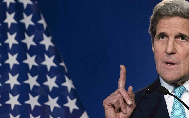 US Secretary of State John Kerry speaks to the press in Lausanne, Switzerland, April 2, 2015. (photo credit: AP/Brendan Smialowski, Pool)