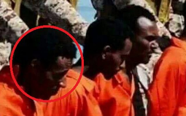 Tesfay Kidane, one of three Eritrean migrants believed killed by the Islamic State, appears in the terror group's video released on April 19, 2015 (image credit: Hotline for Refugees and Migrants)