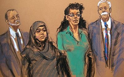 In this courtroom sketch, defendants Noelle Velentzas, center left and Asia Siddiqui, center right, appear in federal court with their attorneys, Thursday, April 2, 2015, in New York. (photo credit: AP/Jane Rosenberg)