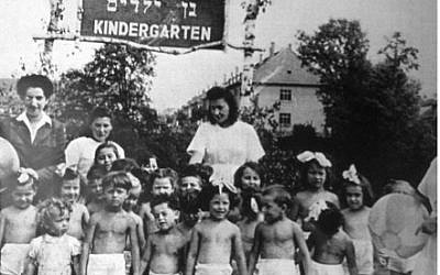 Kindergarten at Bergen-Belsen DP camp. Late 1940s. (photo credit: Courtesy of Jean Bloch Rosensaft)