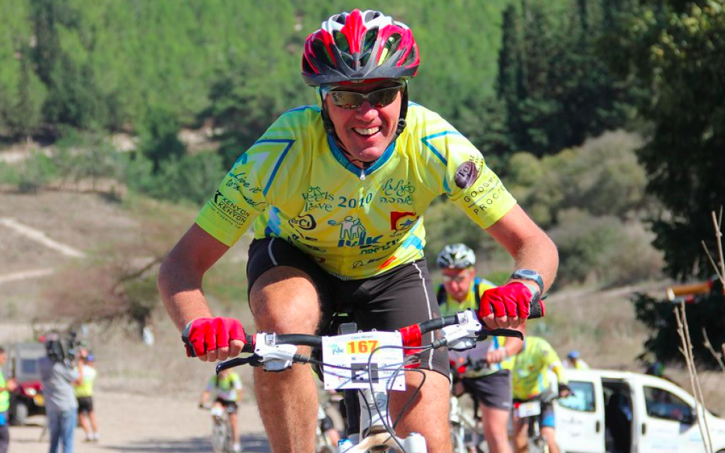 Koos Wever, a Dutch native who has been living in Israel for 25 years, on the annual Alyn Hospital bike ride (Courtesy Koos Wever)