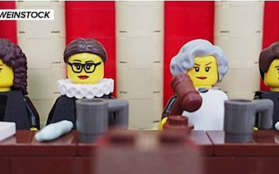 "Maia Weinstock's ""Legal Justice League: Women of the Supreme Court in LEGO."" (YouTube screenshot)"