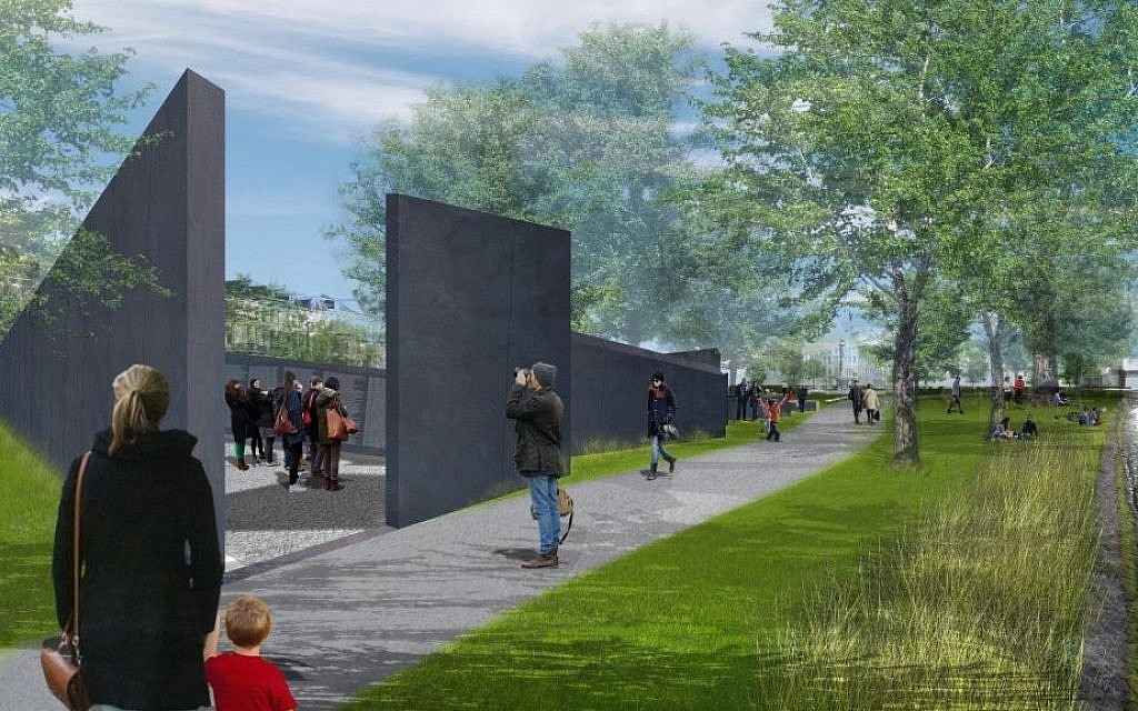 A depiction of the Memorial of Names, a Daniel Libeskind-designed project awaiting approval to be constructed in Amsterdam's Wertheim Park. The memorial would be the Netherlands' first to list the names of more than 102,000 Holocaust victims, including 220 Sinti and Roma (courtesy: Dutch Auschwitz Committee)