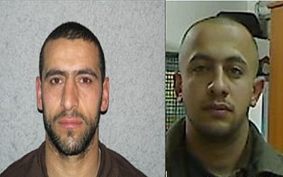 Daud Adwan (left) and Ma'an Shaer (right), who allegedly planned a shooting attack against IDF soldiers in March 2015 (photo credit: Shin Bet)