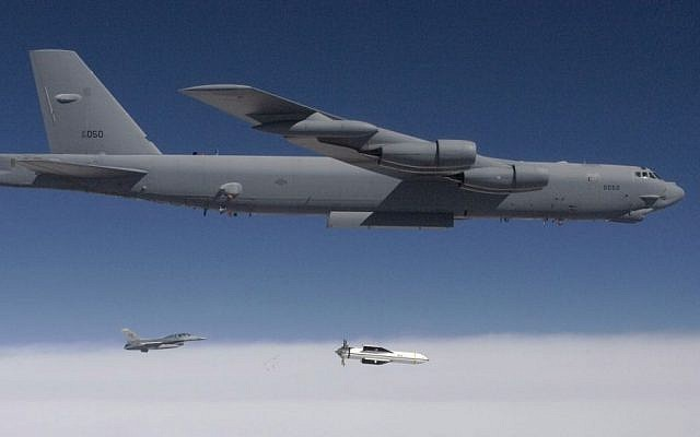 A B-52 releases a test version of the Massive Ordnance Penetrator in 2009 (Photo credit: Public Domain/US Government)