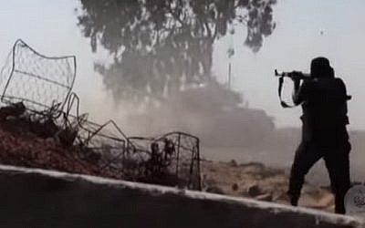Illustrative photo of a jihadist fighter in Egypt's Sinai Peninsula (screen capture: YouTube)