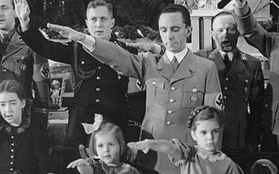 Illustrative: Joseph Goebbels with his daughters, Hilde (center) and Helga, at a Christmas celebration in Berlin, 1937 (JTA/German Federal Archives)